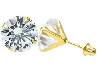 10K Gold Round Cubic Zirconia (CZ) Single Basket Screw Back Stud Earrings - 3 mm to 7 mm