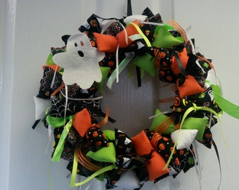 Halloween Theme Handmade Fabric Wreath with Ghosts, Pumpkins and Trick or Treat fabrics and ribbons