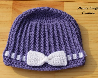 Crocheted Hat With Bow, Crochet ribbed beanie, Girls beanie