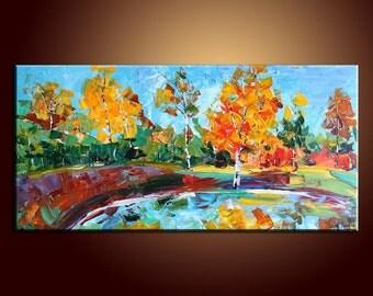 Large Painting Autumn Forest Landscape Painting Original Painting Oil Painting Impasto Texture Oil Painting Palette Knife Oil Painting