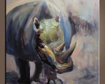 Animal Painting Original Painting Rhinoceros Painting Oil Painting Abstract Art Small Oil Painting Palette Knife Oil Painting
