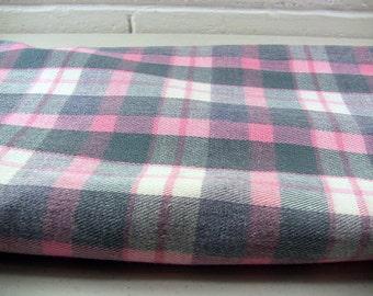 Pink Plaid Fabric, Vintage Plaid, Tartan Plaid, Pink Plaid, Pink Tartan, Vintage Tartan, Vintage Fabric, Pink Plaid Denim, Vintage Sewing