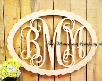 Wooden Monogram - Monogram Wall Hanging- Wedding Monogram- Wooden Letters- Nursery Decor- Door Wreath- Vine Script Wooden Monogram