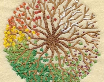 FOUR SEASONS Tree Design Machine Embroidered Quilt Block, Quilt Square, Panel