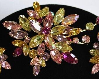 Dazzling Huge Vintage Weiss Brooch Earrings Set~Multicolor Rhinestones~Signed