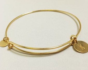 14K gold filled bangle with adjustment,beautiful bangle,cuff bangle in 14k gold filled,personalized bangle,initial bangle