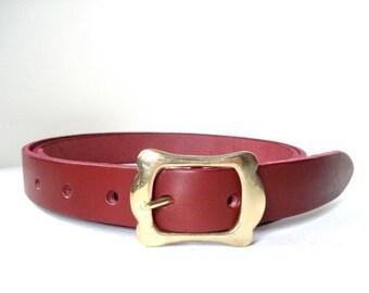 Thin Burgundy Leather Belt - Handmade In London - Feminin Gold Buckle