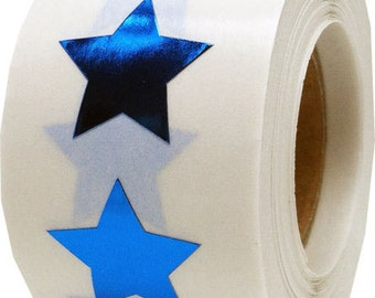"Metallic Blue Star Stickers | 3/4"" Adhesive Star Shape Labels 