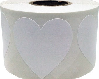 "Large White Heart Shape Stickers | 1.5"" Adhesive Heart Stickers 
