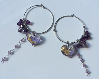 Handomade glass heart with swarovski hoop earrings