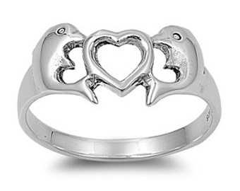 Dolphin Heart Ring 10MM Sterling Silver 925