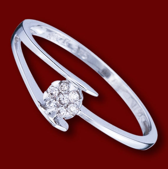 beautiful simple engagement solid white gold ring with