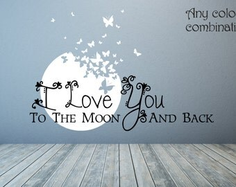 I Love You To The Moon And Back Wall Art moon wall decal | etsy