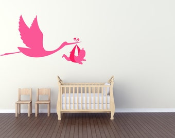 Stork Carrying a Baby for Nurseries. Vinyl wall art decal sticker. Any colour and size.(#22)