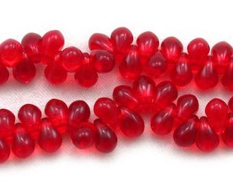 50 Red transparent 3 x 5mm drops. Set of 50.