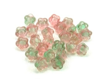 Pale Pink UV Active Pale Green transparent small 7mm button flower bead. Set of 25 or 50.