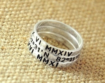 Personalized Hammered ring, Customized Roman numerals ring, 925 sterling silver Personalzied ring,Engraved Roman number, Valentine jewelry