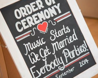 Wedding Order of Ceremony sign - Vintage Chalk Board