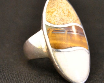 BEAUTIFUL Sterling Silver Tiger's Eye Ring - Size 6.5