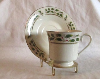 Holly Holiday Cup and Saucer, Christmas Cup and Saucer, Tea Coffee Cup and Saucer, Inexpensive Replacement Cup and Saucer