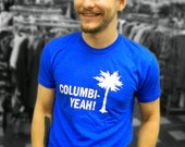Columbi-Yeah! T-Shirt -- royal blue with white logo -- unisex