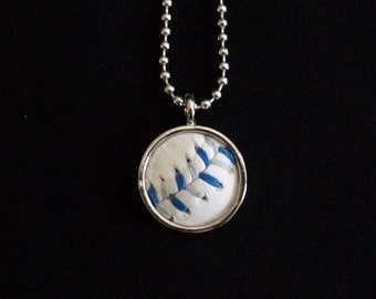 Baseball Necklace- Blue/Gray Stitches Limited Edition- Round 3/4 inch, Metal Back