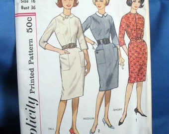 Vintage Simplicity Sewing Pattern 4567 One Piece Dress Size 16