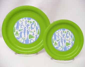 "Cheer Lime Green & Blue 9"" or 7"" Paper Plates--Will Customize with Your Team Colors"