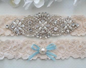 Wedding Garter Set, Pearl and Rhinestone Garter Set, Ivory Lace Garter Set - Style L200