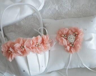 Flower Girl Basket, Ring Bearer Pillow, Wedding Basket and Pillow Set - Style 325