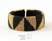 THEMBI - Zulu Beaded Bracelet - Gold/Black