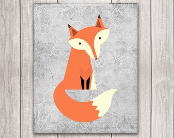 75% OFF SALE - Fox Nursery Decor - 8x10 Fox Art Printable, Nursery Art, Nursery Decor, Woodland Animals, Nursery Wall Decor