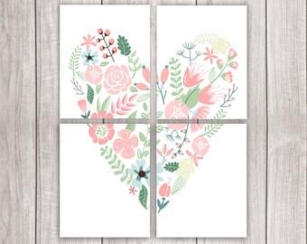 75% OFF SALE - Wall Art Set (Set of Four 8x10s) - Panel Art Set, Wall Mural, Floral Heart Print, Heart Printable Art, Love Art Print