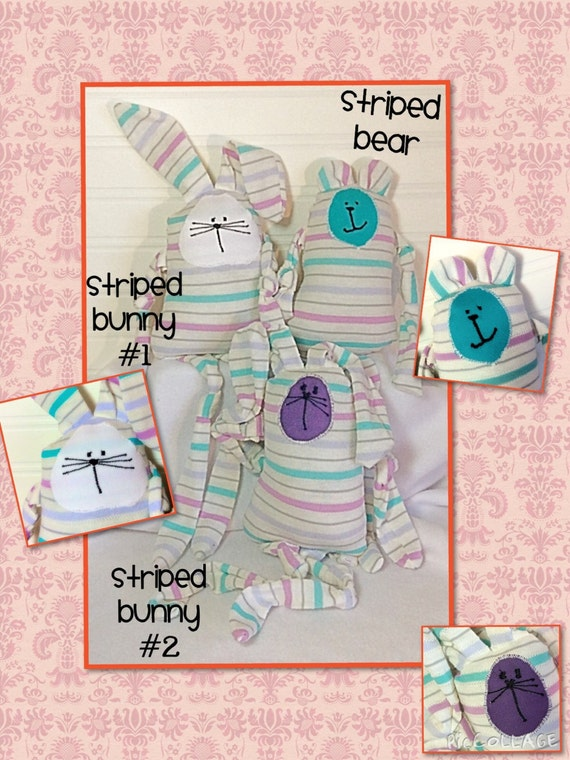 Teal/White/Purple Striped Stuffed Bunnies and Bear