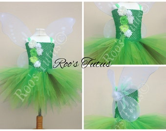 Green fairy, flower tutu dress costume (Handmade). Fairy, princess dress up