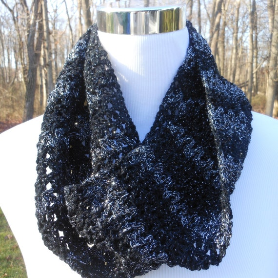 crochet black and silver scarf evening or daytime by ripitfrog