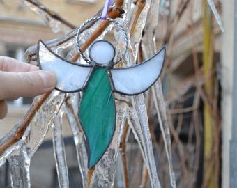 Stained Glass Angel Suncatcher teal D3, Guardian Angel Ornament, Remembrance Angel Decoration, Rear View Charm, Mother Gift, Easter Gift