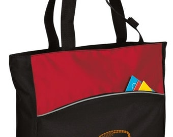 Personalized Football Red/Black Tote with FREE Personalization & FREE SHIPPING    B1510
