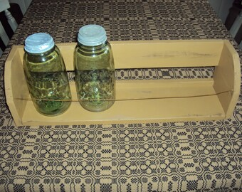Handmade Primitive Crock/Mason Jar Shelf in Your Choice of Color and Finish