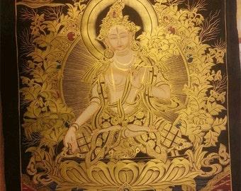 White Tara Thangka (19x29)
