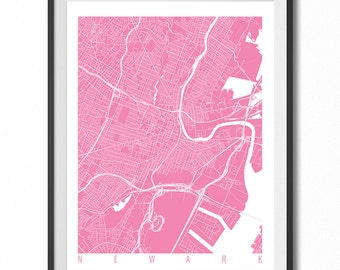 NEWARK Map Art Print / New Jersey Poster / Newark Wall Art Decor / Choose Size and Color