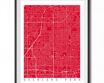 OVERLAND PARK Map Art Print / Kansas Poster / Overland Park Wall Art Decor / Choose Size and Color