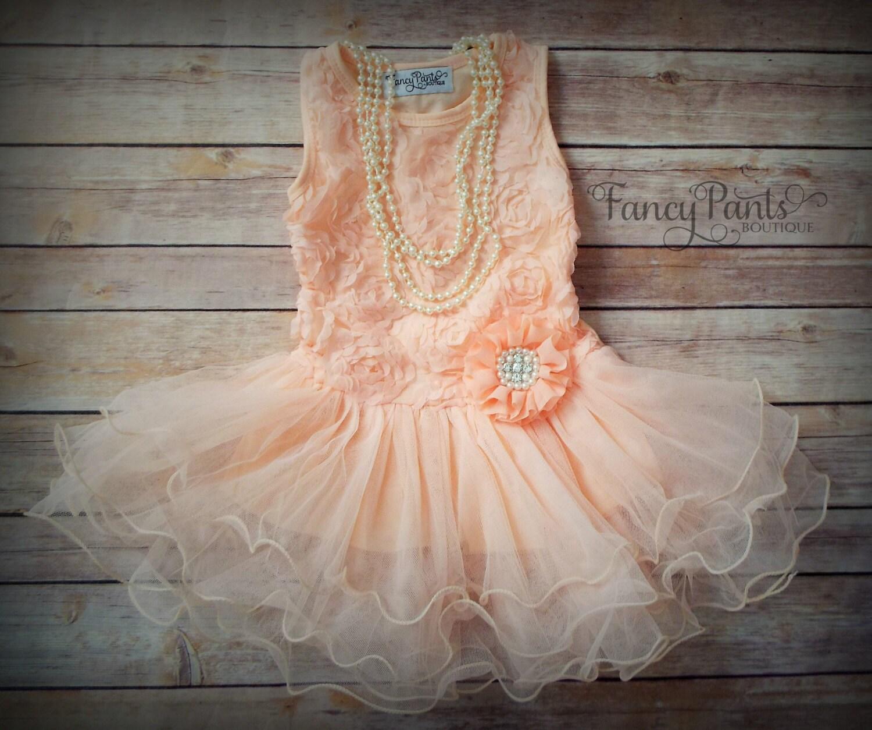 Peach Toddler Girls Tutu Dress Flower Girl dress by byFancyPants