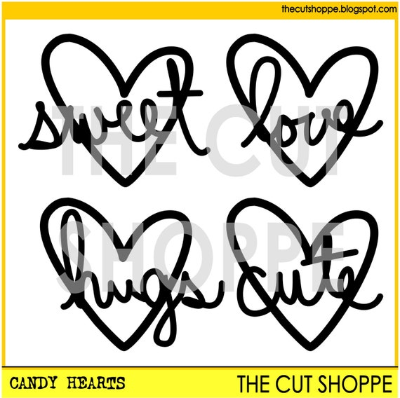 The Candy Hearts cut file consists of 4 heart shapes with phrases, that can be used on your scrapbooking and papercrafting projects.