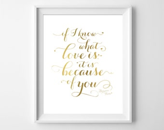 Inspirational quote. Typography art. Hermann Hesse. Know what love is. Home decor. Wall art. Gold Foil. INSTANT DOWNLOAD by Motif Visuals.