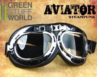 SteamPunk AVIATOR GOGGLES - Silver