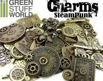 Set 85gr - gear & cogs CHARMS Steampunk (7-10 units) - Antique Bronze Tibetan Watch Beads Mix