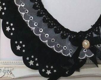 Cute Black Peter Pan collar