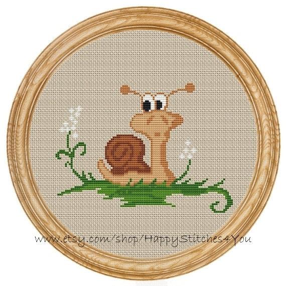 Cross Stitch Pattern PDF snail DD0019