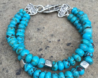 Turquoise and Artisan Sterling Silver Bracelet